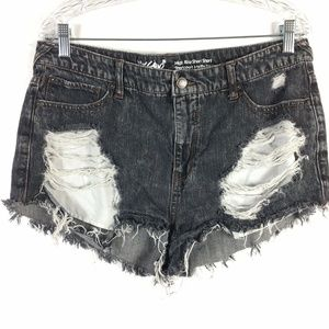 Mossimo Womens SZ 14 Shorty Shorts Distressed